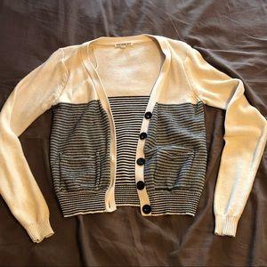 Super cute Black and Cream Striped Cardigan Size L